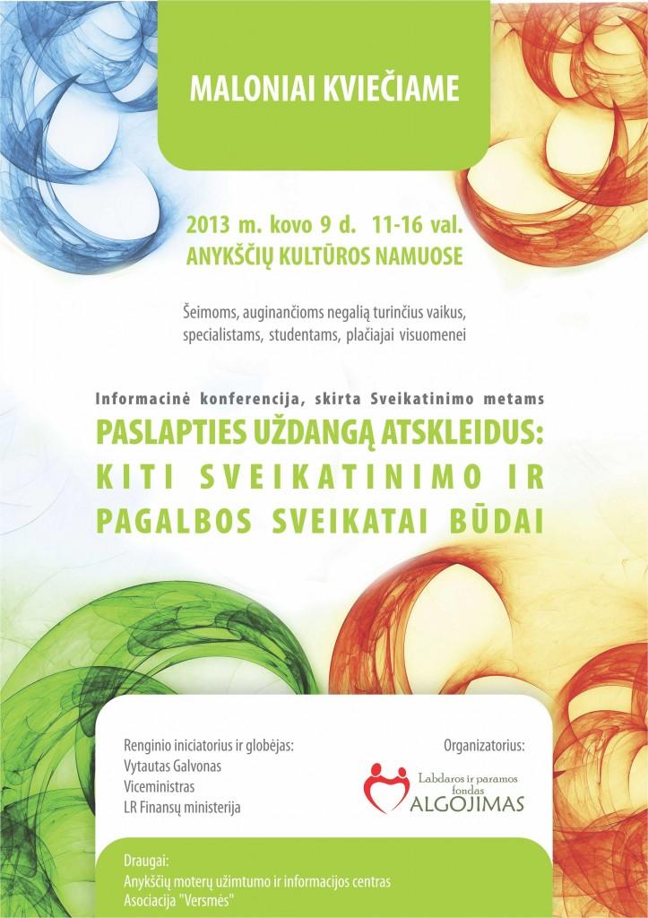 """Konferencija """"Paslapties uždangą atskleidus: kiti sveikatinimo ir pagalbos sveikatai būdai"""" – kvietimas"""